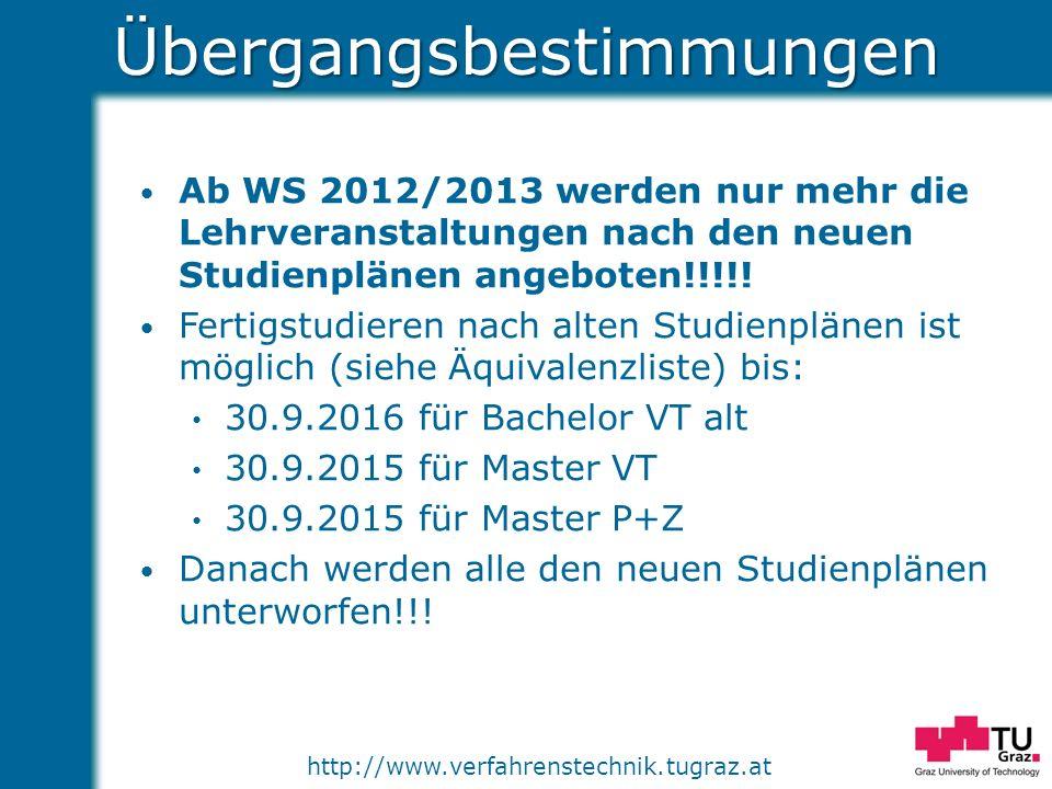 http://www.verfahrenstechnik.tugraz.atÜbergangsbestimmungen Ab WS 2012/2013 werden nur mehr die Lehrveranstaltungen nach den neuen Studienplänen angeb