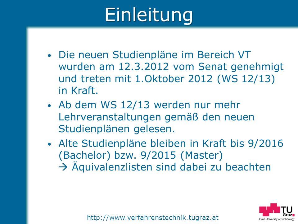 http://www.verfahrenstechnik.tugraz.atEinleitung Vielen Dank an alle Mitglieder und Gäste der Stuko VT für die gute Zusammenarbeit in der Erstellung der neuen Studienpläne!!!