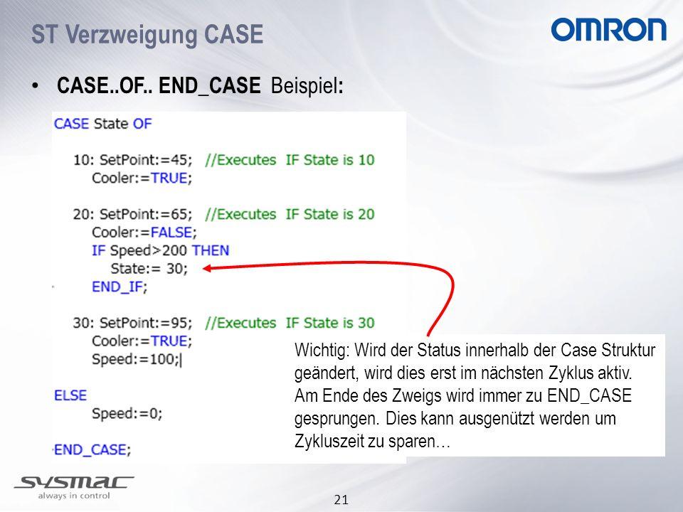 21 ST Verzweigung CASE CASE..OF.. END_CASE Beispiel : Wichtig: Wird der Status innerhalb der Case Struktur geändert, wird dies erst im nächsten Zyklus