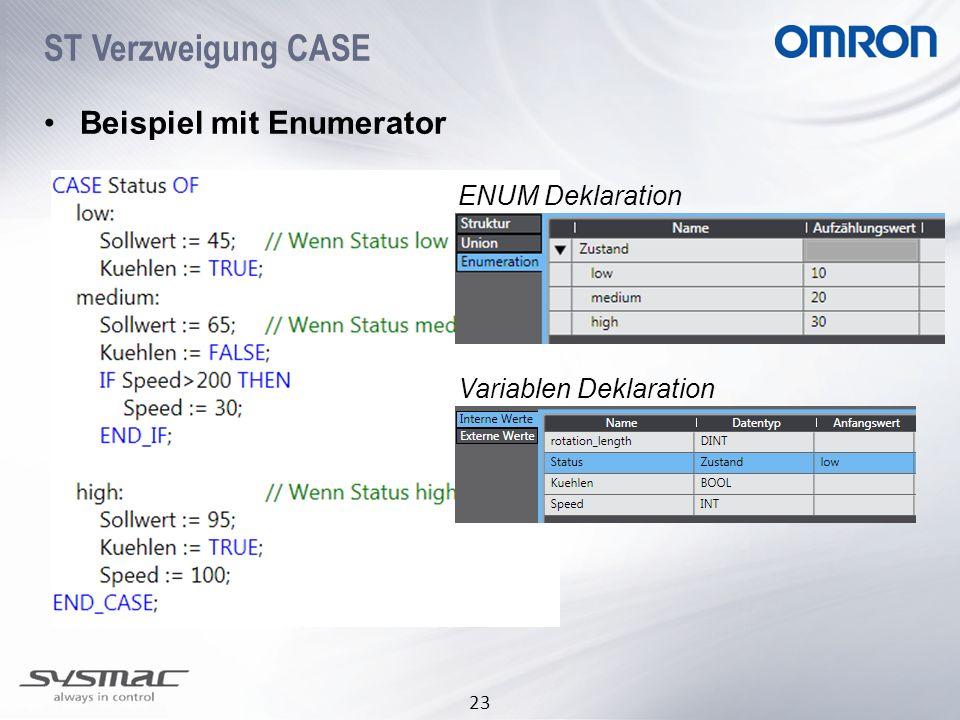23 ST Verzweigung CASE Beispiel mit Enumerator ENUM Deklaration Variablen Deklaration