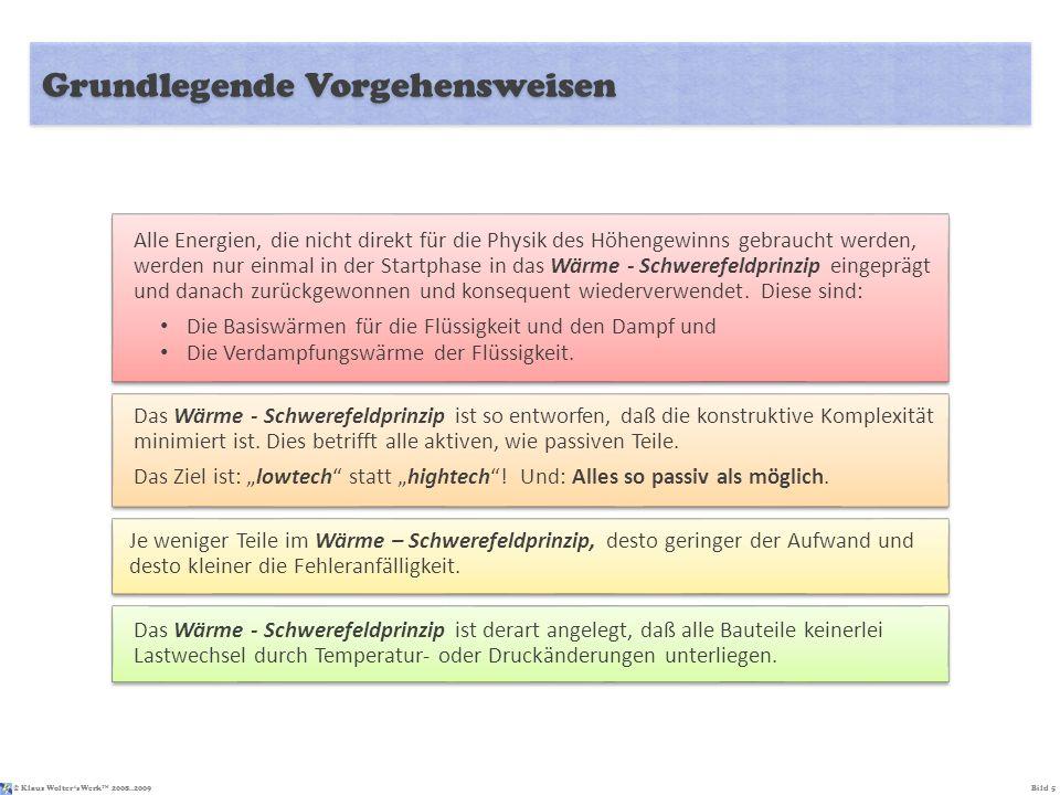 © Klaus Wolters Werk TM 2008..2009Bild 5 Grundlegende Vorgehensweisen Alle Energien, die nicht direkt für die Physik des Höhengewinns gebraucht werden
