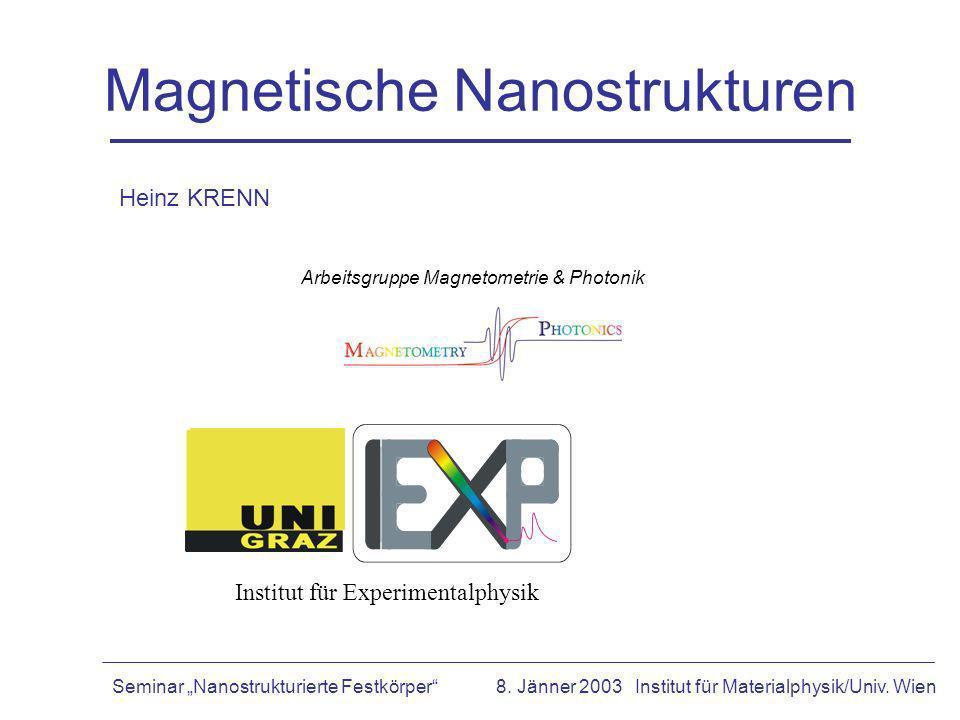Magnetische Nanostrukturen Institut für Experimentalphysik Arbeitsgruppe Magnetometrie & Photonik Seminar Nanostrukturierte Festkörper8. Jänner 2003 I