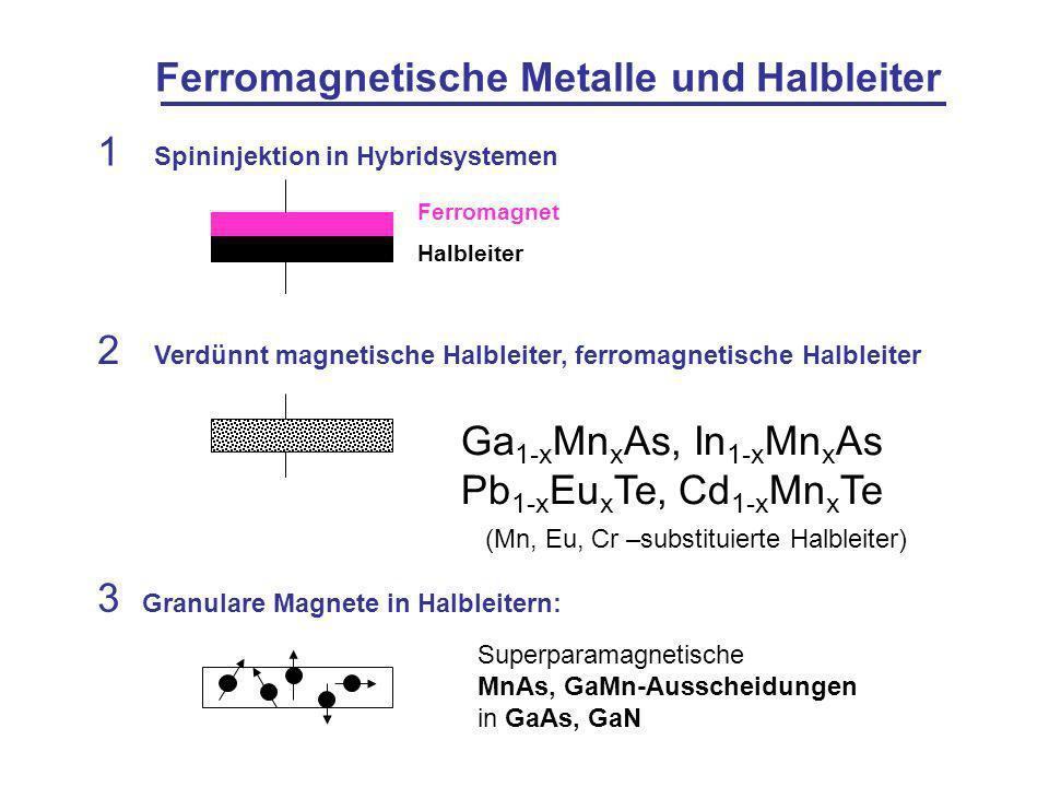 Ferromagnetische Metalle und Halbleiter 1 Spininjektion in Hybridsystemen Ferromagnet Halbleiter 2 Verdünnt magnetische Halbleiter, ferromagnetische Halbleiter (Mn, Eu, Cr –substituierte Halbleiter) Ga 1-x Mn x As, In 1-x Mn x As Pb 1-x Eu x Te, Cd 1-x Mn x Te 3 Granulare Magnete in Halbleitern: Superparamagnetische MnAs, GaMn-Ausscheidungen in GaAs, GaN