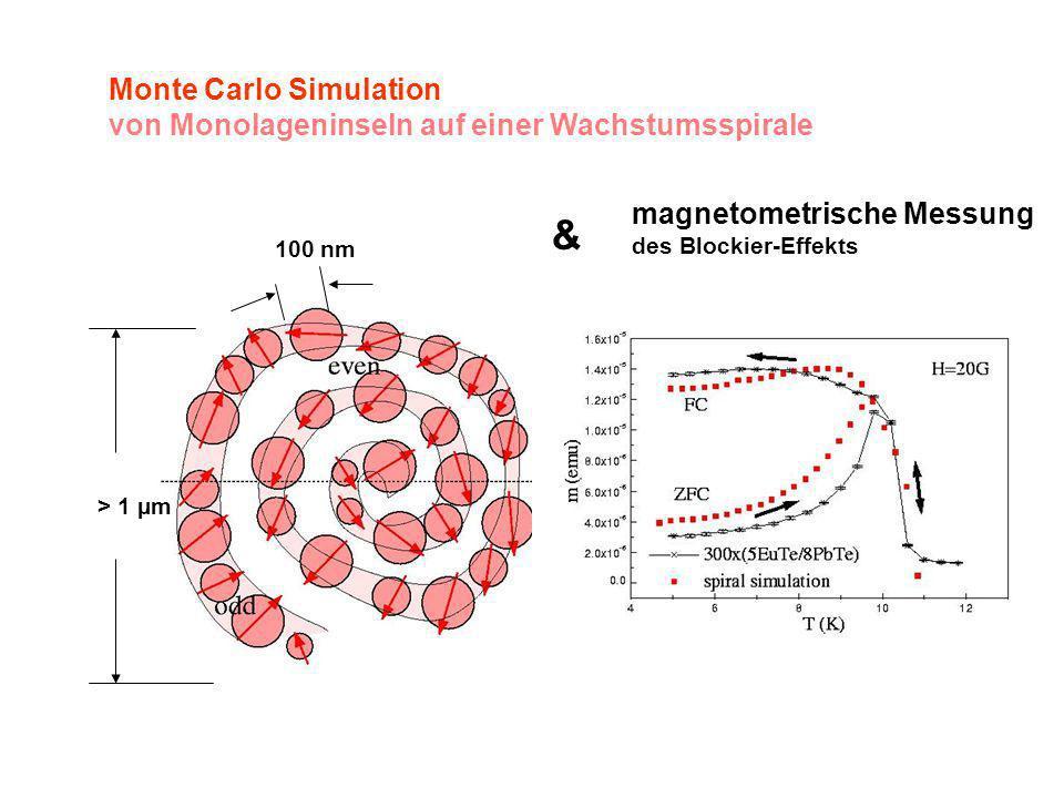 100 nm > 1 µm magnetometrische Messung des Blockier-Effekts & Monte Carlo Simulation von Monolageninseln auf einer Wachstumsspirale