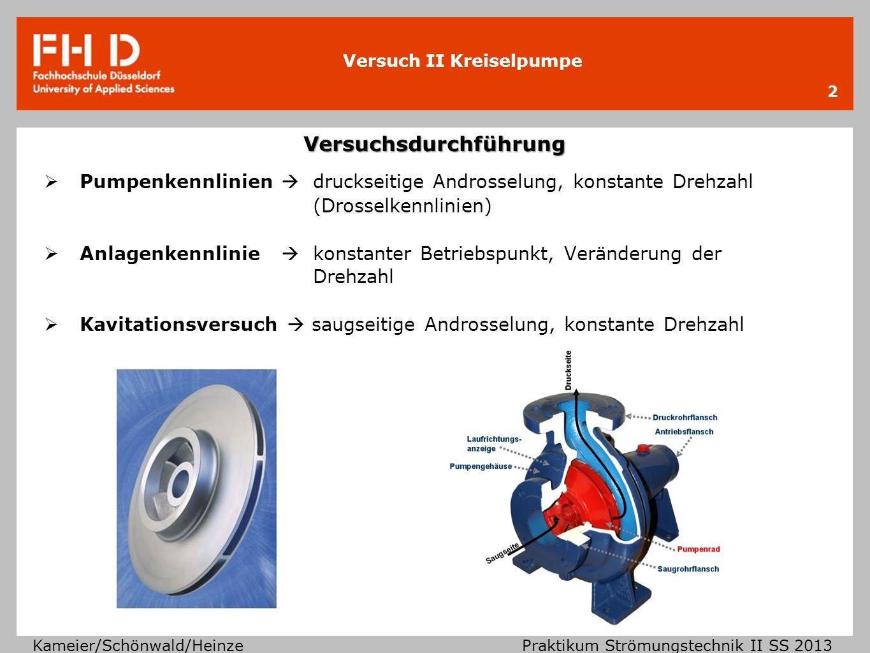 Versuch II Kreiselpumpe Kameier/Schönwald/Heinze Praktikum Strömungstechnik II SS 2013 Versuchsdurchführung 2 Pumpenkennlinien druckseitige Androsselu