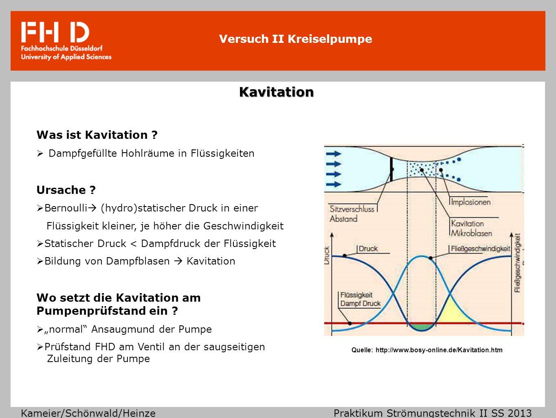 Versuch II Kreiselpumpe Kameier/Schönwald/Heinze Praktikum Strömungstechnik II SS 2013 Definitionen von NPSH-Werten: NPSH-Wert NPSH-Wert Wert der Pumpe bevor es zur Kavitation kommt NPSH vorh -Wert / NPSH A NPSH vorh -Wert / NPSH A Wert der Pumpe bevor es zur Kavitation kommt im eingebauten Zustand, d.h.