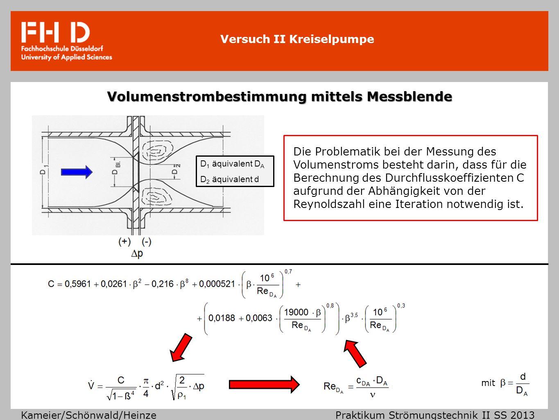 Versuch II Kreiselpumpe Kameier/Schönwald/Heinze Praktikum Strömungstechnik II SS 2013 Volumenstrombestimmung mittels Messblende Die Problematik bei d