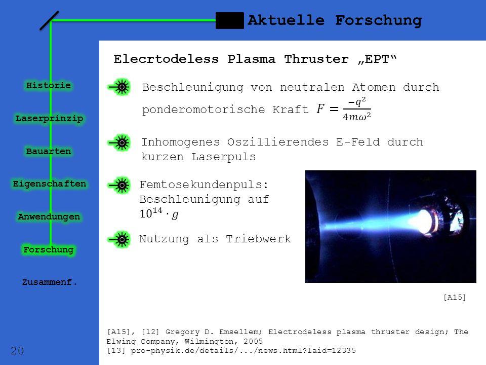 Aktuelle Forschung Elecrtodeless Plasma Thruster EPT Zusammenf. Inhomogenes Oszillierendes E-Feld durch kurzen Laserpuls Nutzung als Triebwerk 20 [A15