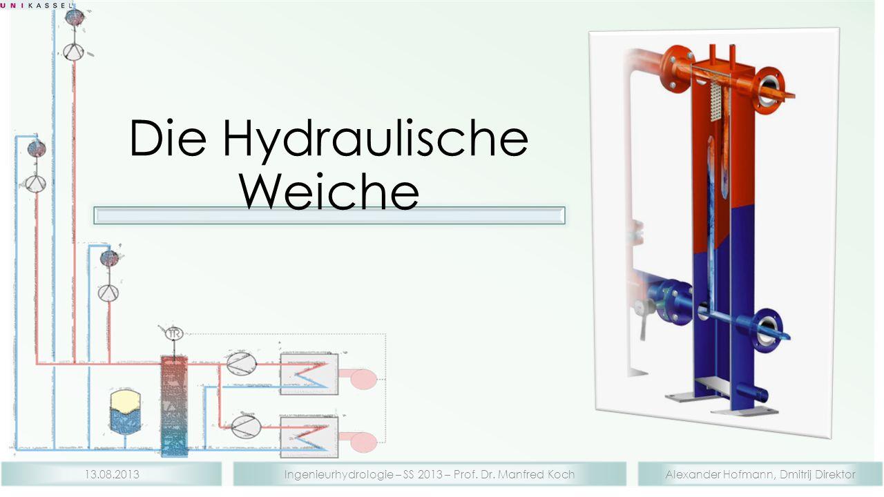 Alexander Hofmann, Dmitrij DirektorIngenieurhydrologie – SS 2013 – Prof. Dr. Manfred Koch13.08.2013 Die Hydraulische Weiche