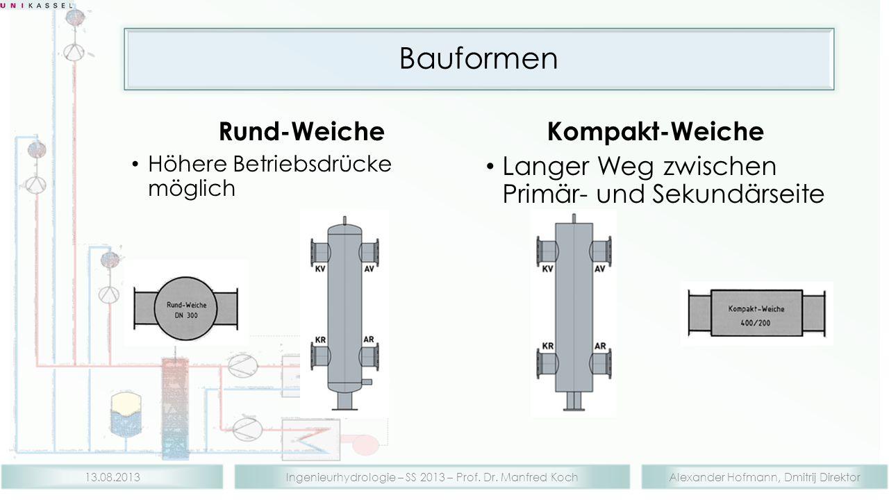 Alexander Hofmann, Dmitrij DirektorIngenieurhydrologie – SS 2013 – Prof. Dr. Manfred Koch13.08.2013 Rund-Weiche Höhere Betriebsdrücke möglich Kompakt-