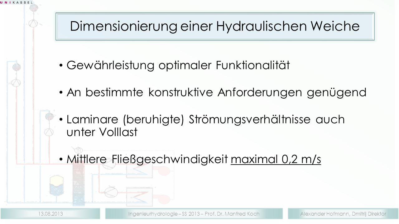 Alexander Hofmann, Dmitrij DirektorIngenieurhydrologie – SS 2013 – Prof. Dr. Manfred Koch13.08.2013 Dimensionierung einer Hydraulischen Weiche Gewährl