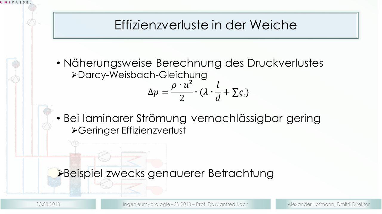 Alexander Hofmann, Dmitrij DirektorIngenieurhydrologie – SS 2013 – Prof. Dr. Manfred Koch13.08.2013 Effizienzverluste in der Weiche