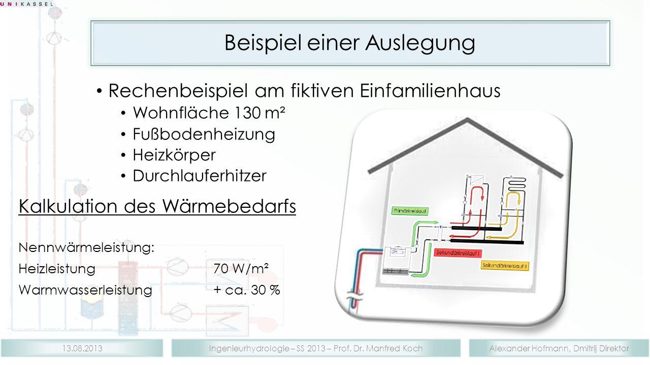 Alexander Hofmann, Dmitrij DirektorIngenieurhydrologie – SS 2013 – Prof. Dr. Manfred Koch13.08.2013 Beispiel einer Auslegung Rechenbeispiel am fiktive