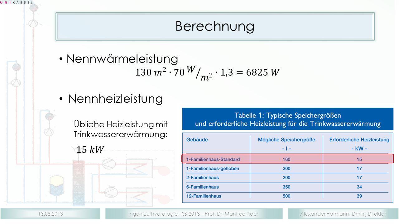 Alexander Hofmann, Dmitrij DirektorIngenieurhydrologie – SS 2013 – Prof. Dr. Manfred Koch13.08.2013 Berechnung
