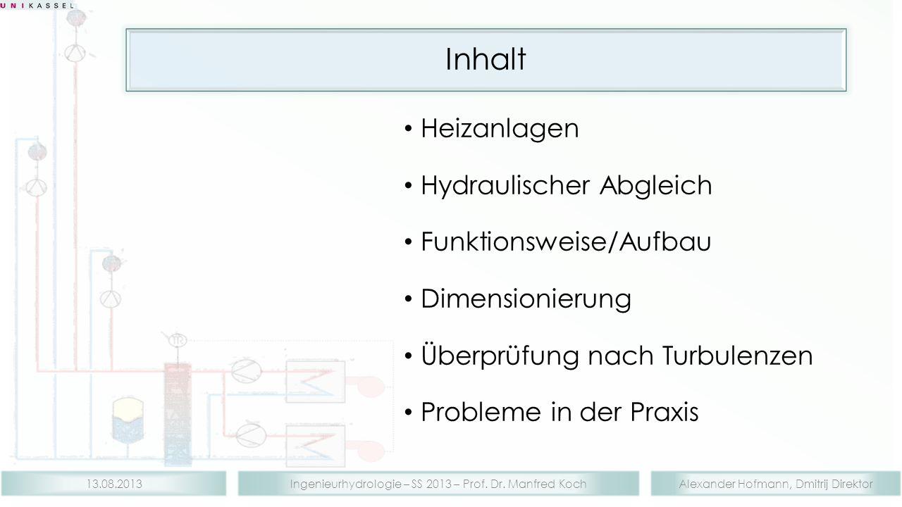 Alexander Hofmann, Dmitrij DirektorIngenieurhydrologie – SS 2013 – Prof. Dr. Manfred Koch13.08.2013 Inhalt Heizanlagen Hydraulischer Abgleich Funktion