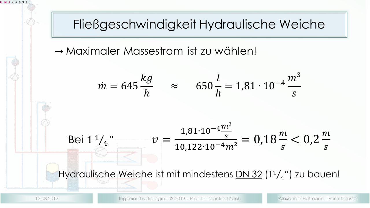 Alexander Hofmann, Dmitrij DirektorIngenieurhydrologie – SS 2013 – Prof. Dr. Manfred Koch13.08.2013 Fließgeschwindigkeit Hydraulische Weiche