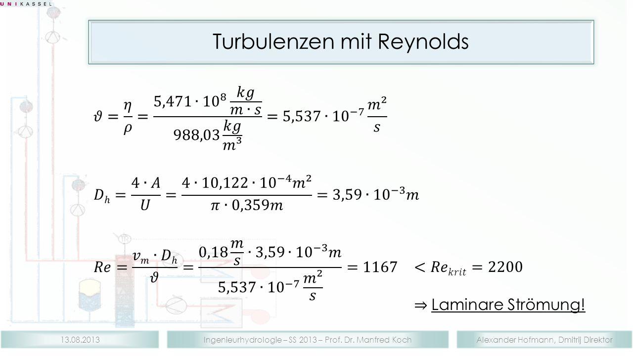 Alexander Hofmann, Dmitrij DirektorIngenieurhydrologie – SS 2013 – Prof. Dr. Manfred Koch13.08.2013 Turbulenzen mit Reynolds