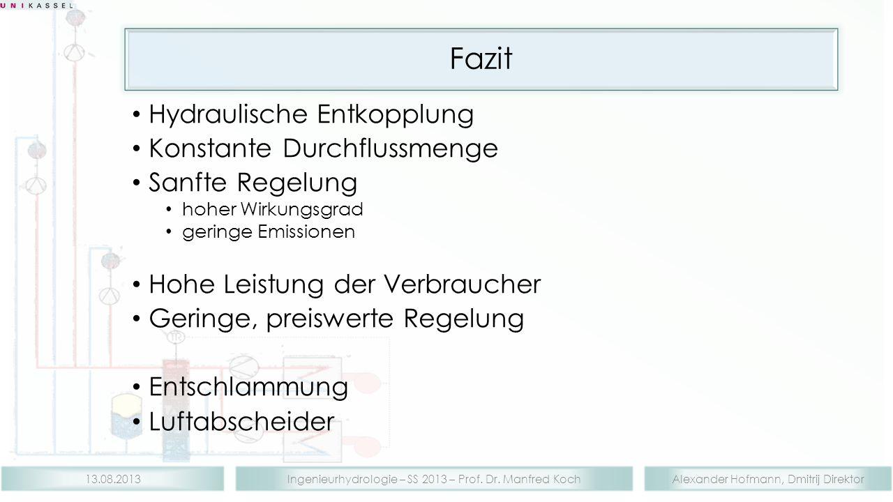 Alexander Hofmann, Dmitrij DirektorIngenieurhydrologie – SS 2013 – Prof. Dr. Manfred Koch13.08.2013 Fazit Hydraulische Entkopplung Konstante Durchflus