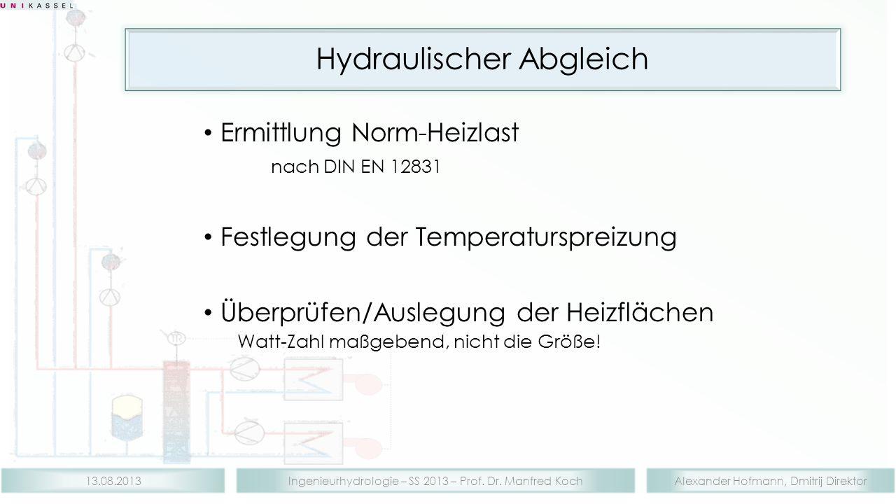 Alexander Hofmann, Dmitrij DirektorIngenieurhydrologie – SS 2013 – Prof. Dr. Manfred Koch13.08.2013 Hydraulischer Abgleich Ermittlung Norm-Heizlast na