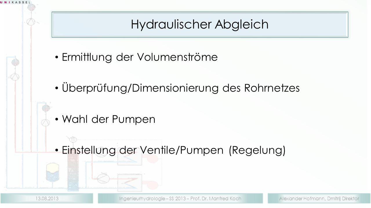 Alexander Hofmann, Dmitrij DirektorIngenieurhydrologie – SS 2013 – Prof. Dr. Manfred Koch13.08.2013 Hydraulischer Abgleich Ermittlung der Volumenström