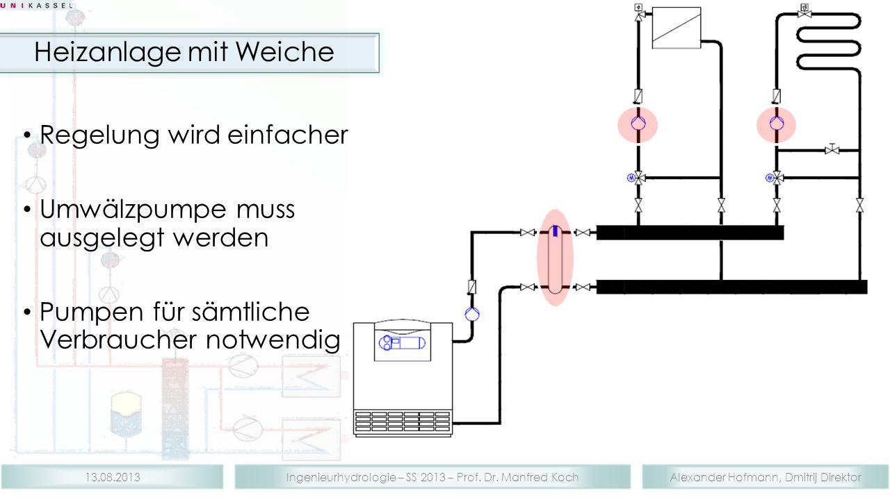 Alexander Hofmann, Dmitrij DirektorIngenieurhydrologie – SS 2013 – Prof. Dr. Manfred Koch13.08.2013 Regelung wird einfacher Umwälzpumpe muss ausgelegt