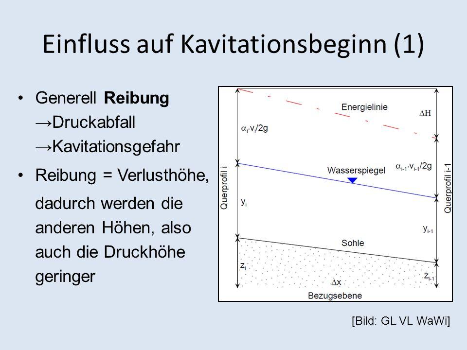 Einfluss auf Kavitationsbeginn (1) Generell Reibung Druckabfall Kavitationsgefahr Reibung = Verlusthöhe, dadurch werden die anderen Höhen, also auch die Druckhöhe geringer [Bild: GL VL WaWi]