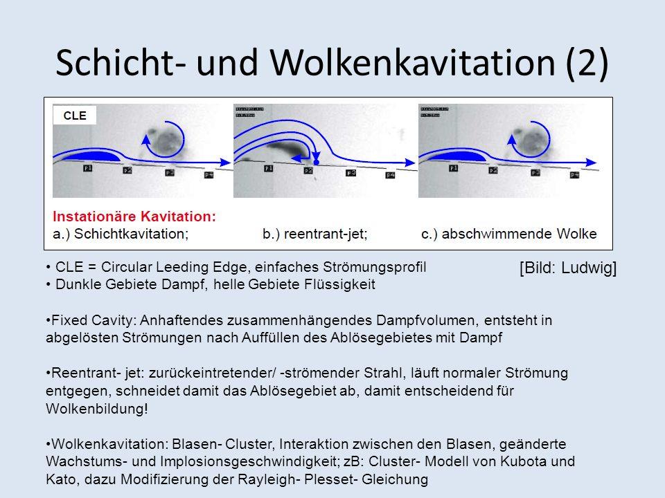 Schicht- und Wolkenkavitation (2) CLE = Circular Leeding Edge, einfaches Strömungsprofil Dunkle Gebiete Dampf, helle Gebiete Flüssigkeit Fixed Cavity: Anhaftendes zusammenhängendes Dampfvolumen, entsteht in abgelösten Strömungen nach Auffüllen des Ablösegebietes mit Dampf Reentrant- jet: zurückeintretender/ -strömender Strahl, läuft normaler Strömung entgegen, schneidet damit das Ablösegebiet ab, damit entscheidend für Wolkenbildung.