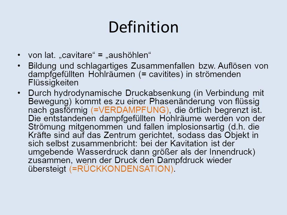Definition von lat. cavitare = aushöhlen Bildung und schlagartiges Zusammenfallen bzw. Auflösen von dampfgefüllten Hohlräumen (= cavitites) in strömen