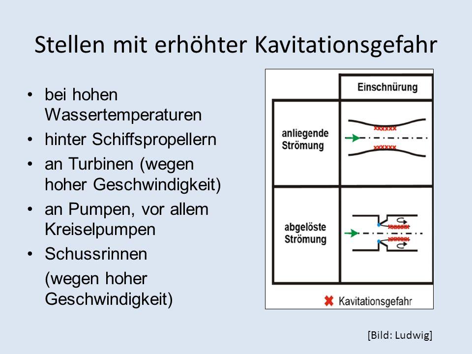 Stellen mit erhöhter Kavitationsgefahr bei hohen Wassertemperaturen hinter Schiffspropellern an Turbinen (wegen hoher Geschwindigkeit) an Pumpen, vor allem Kreiselpumpen Schussrinnen (wegen hoher Geschwindigkeit) [Bild: Ludwig]