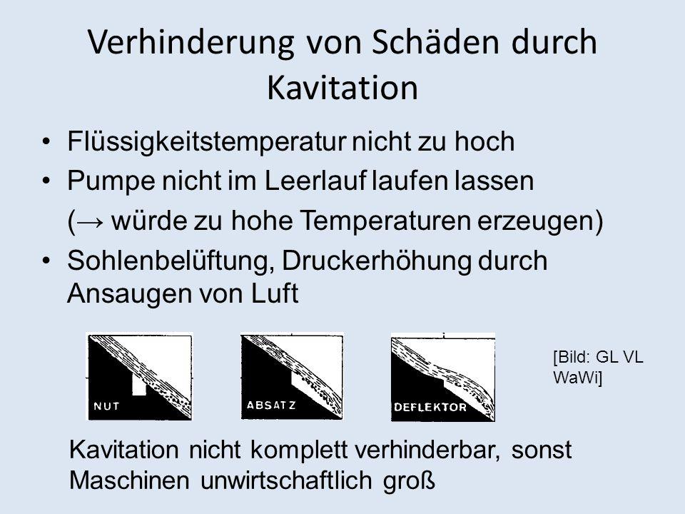 Verhinderung von Schäden durch Kavitation Flüssigkeitstemperatur nicht zu hoch Pumpe nicht im Leerlauf laufen lassen ( würde zu hohe Temperaturen erze