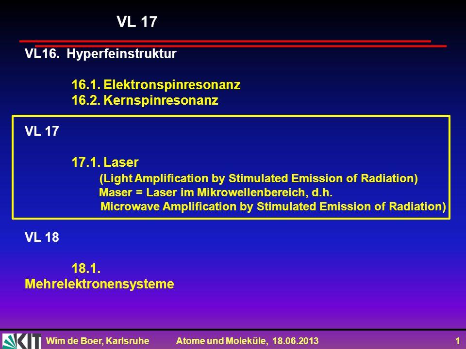 Wim de Boer, Karlsruhe Atome und Moleküle, 18.06.2013 1 VL16. Hyperfeinstruktur 16.1. Elektronspinresonanz 16.2. Kernspinresonanz VL 17 17.1. Laser (L