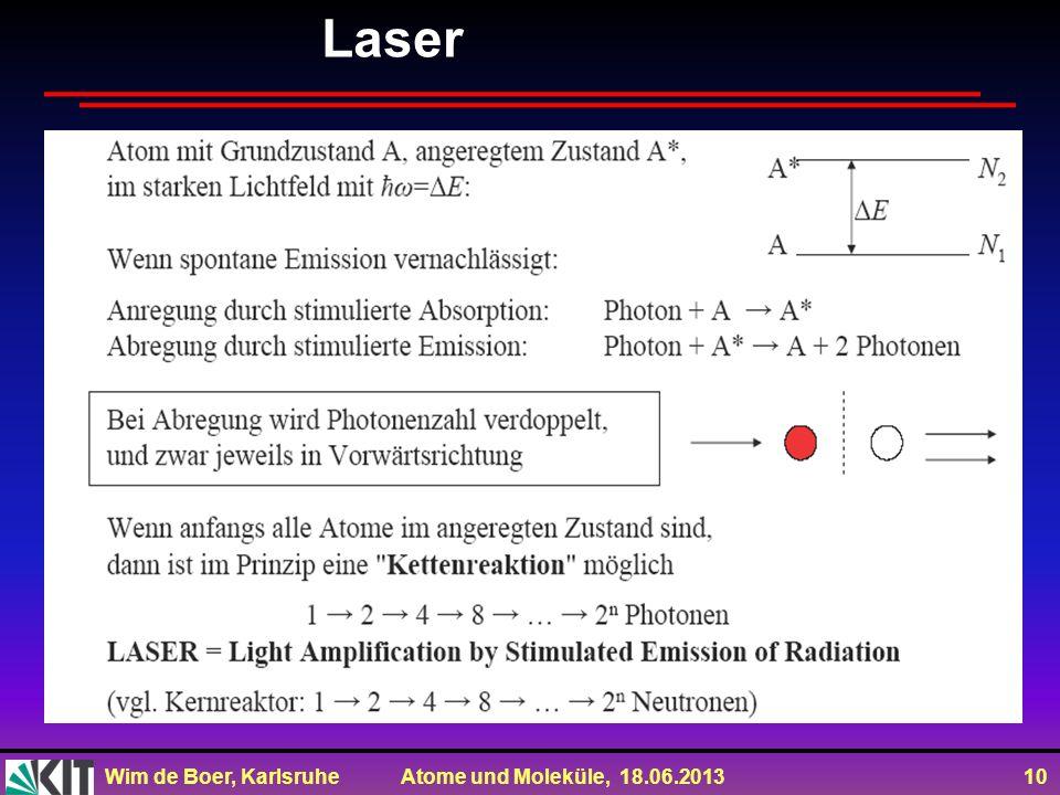 Wim de Boer, Karlsruhe Atome und Moleküle, 18.06.2013 10 Laser