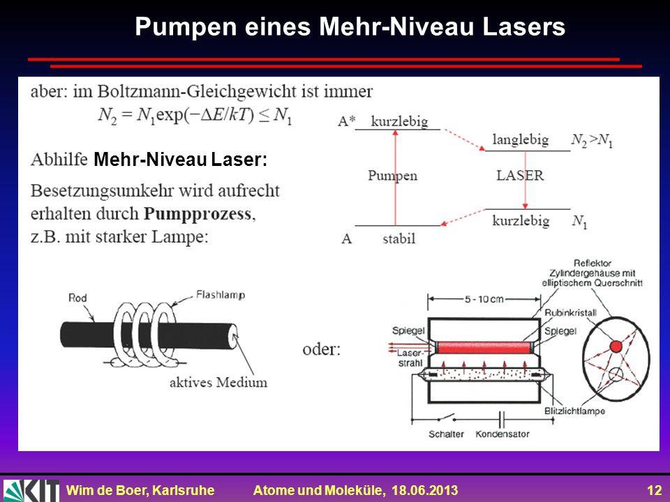 Wim de Boer, Karlsruhe Atome und Moleküle, 18.06.2013 12 Pumpen eines Mehr-Niveau Lasers Mehr-Niveau Laser:
