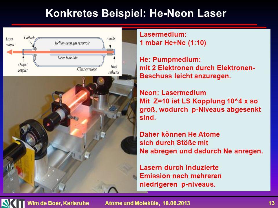 Wim de Boer, Karlsruhe Atome und Moleküle, 18.06.2013 13 Konkretes Beispiel: He-Neon Laser Lasermedium: 1 mbar He+Ne (1:10) He: Pumpmedium: mit 2 Elek