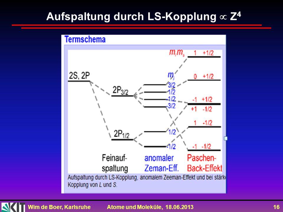 Wim de Boer, Karlsruhe Atome und Moleküle, 18.06.2013 16 Aufspaltung durch LS-Kopplung Z 4