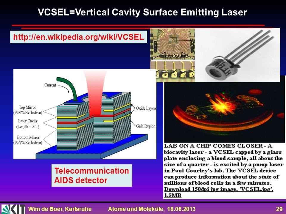 Wim de Boer, Karlsruhe Atome und Moleküle, 18.06.2013 29 VCSEL=Vertical Cavity Surface Emitting Laser Telecommunication AIDS detector http://en.wikipe