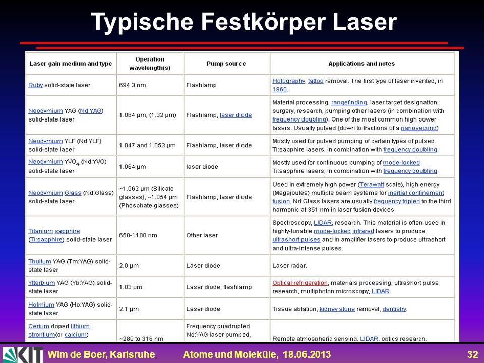 Wim de Boer, Karlsruhe Atome und Moleküle, 18.06.2013 32 Typische Festkörper Laser