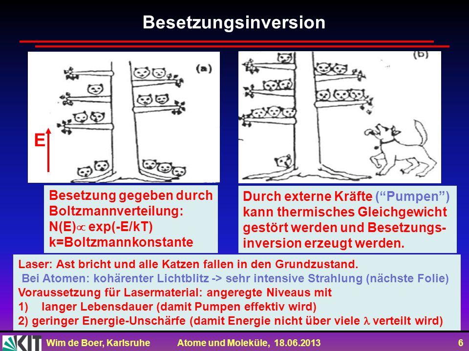 Wim de Boer, Karlsruhe Atome und Moleküle, 18.06.2013 6 Besetzung gegeben durch Boltzmannverteilung: N(E) exp(-E/kT) k=Boltzmannkonstante Durch extern