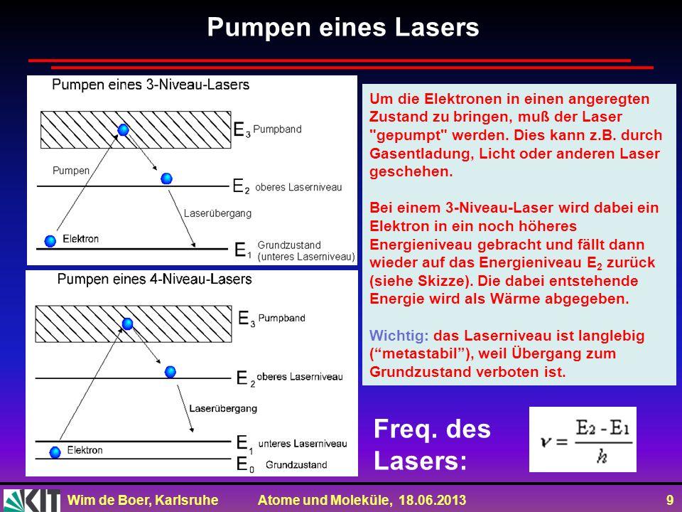 Wim de Boer, Karlsruhe Atome und Moleküle, 18.06.2013 9 Um die Elektronen in einen angeregten Zustand zu bringen, muß der Laser