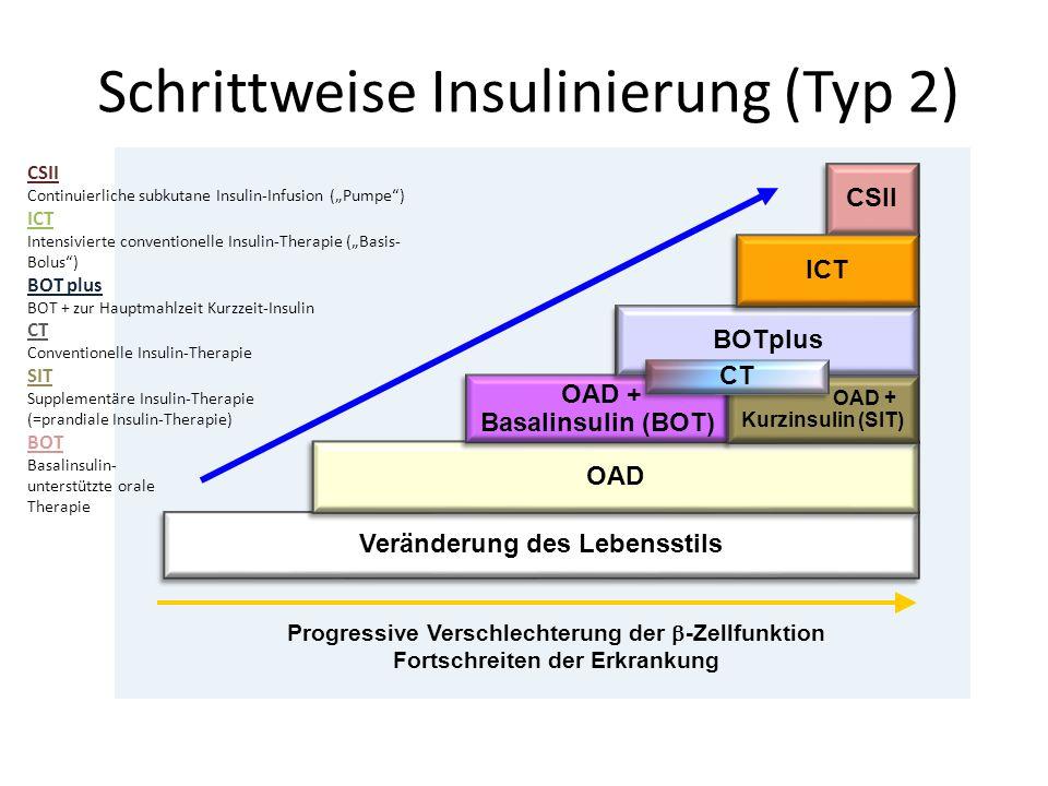 Schrittweise Insulinierung (Typ 2) Progressive Verschlechterung der -Zellfunktion Fortschreiten der Erkrankung Veränderung des Lebensstils OAD OAD + B