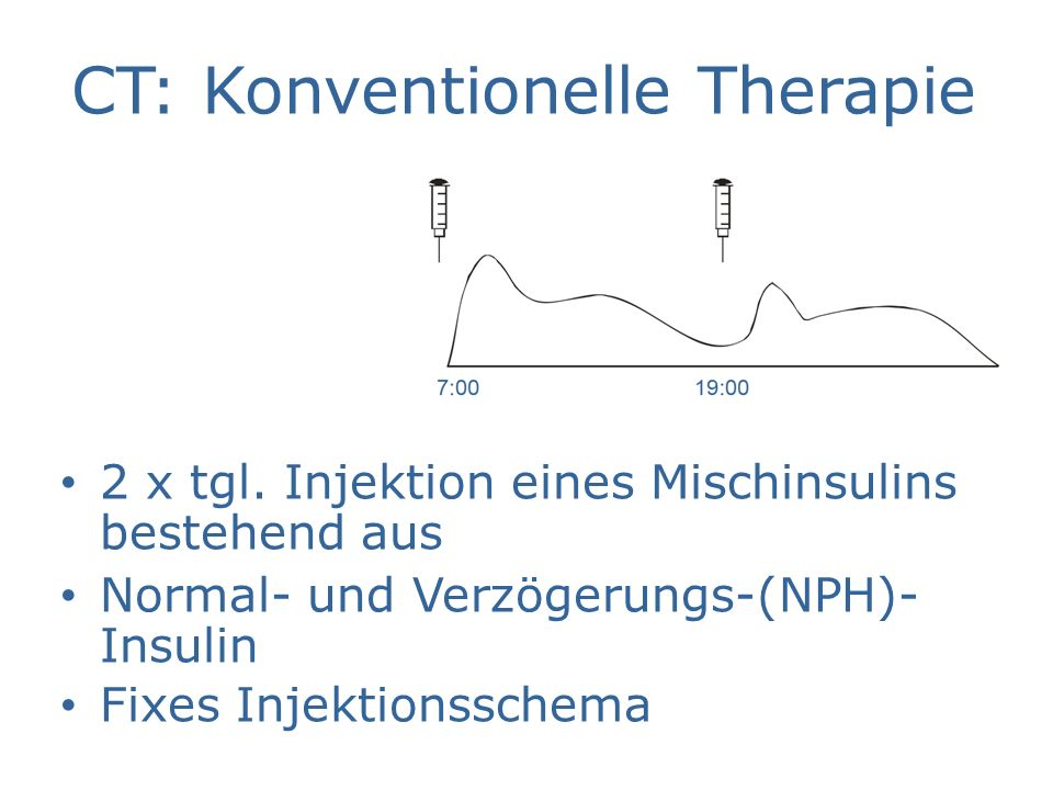 CT: Konventionelle Therapie 2 x tgl. Injektion eines Mischinsulins bestehend aus Normal- und Verzögerungs-(NPH)- Insulin Fixes Injektionsschema