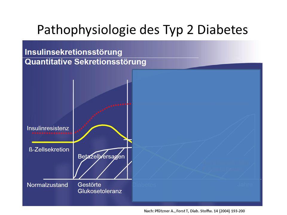 Pathophysiologie des Typ 2 Diabetes Nach: Pfützner A., Forst T, Diab. Stoffw. 14 (2004) 193-200