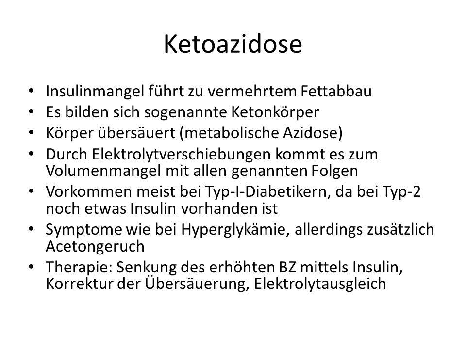 Ketoazidose Insulinmangel führt zu vermehrtem Fettabbau Es bilden sich sogenannte Ketonkörper Körper übersäuert (metabolische Azidose) Durch Elektroly