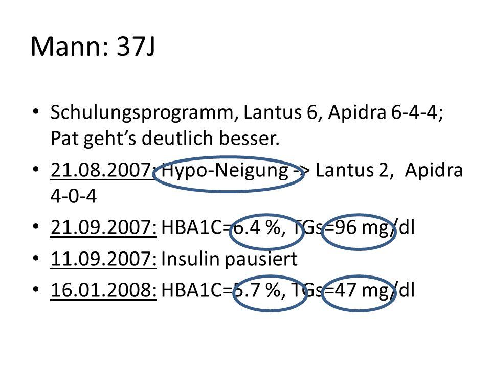 Mann: 37J Schulungsprogramm, Lantus 6, Apidra 6-4-4; Pat gehts deutlich besser. 21.08.2007: Hypo-Neigung -> Lantus 2, Apidra 4-0-4 21.09.2007: HBA1C=6