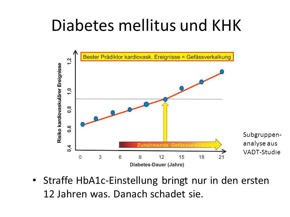 Diabetes mellitus und KHK Straffe HbA1c-Einstellung bringt nur in den ersten 12 Jahren was. Danach schadet sie. Subgruppen- analyse aus VADT-Studie