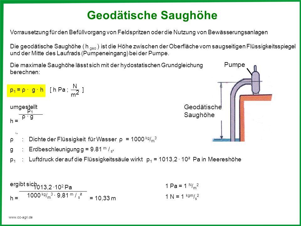 www.cc-agri.de ρ:Dichte der Flüssigkeit für Wasser ρ = 1000 kg / m 3 g:Erdbeschleunigung g = 9.81 m / s² p1p1 :Luftdruck der auf die Flüssigkeitssäule
