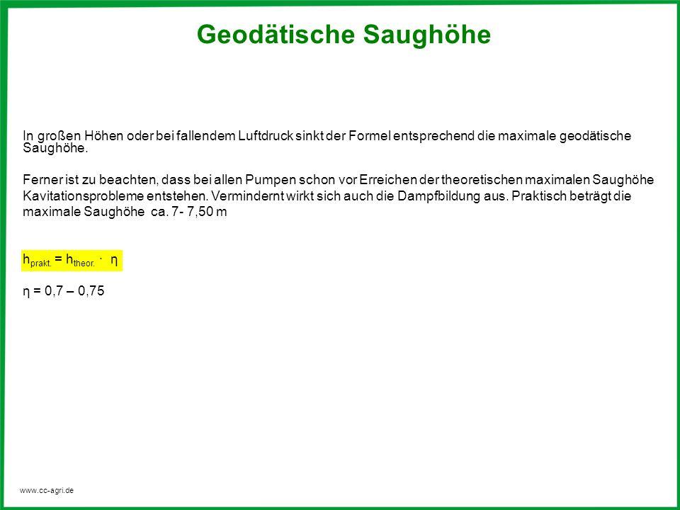 www.cc-agri.de In großen Höhen oder bei fallendem Luftdruck sinkt der Formel entsprechend die maximale geodätische Saughöhe. Ferner ist zu beachten, d