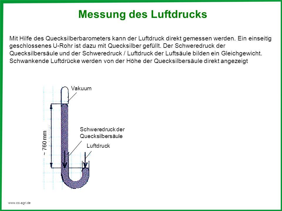 www.cc-agri.de Messung des Luftdrucks Mit Hilfe des Quecksilberbarometers kann der Luftdruck direkt gemessen werden. Ein einseitig geschlossenes U-Roh