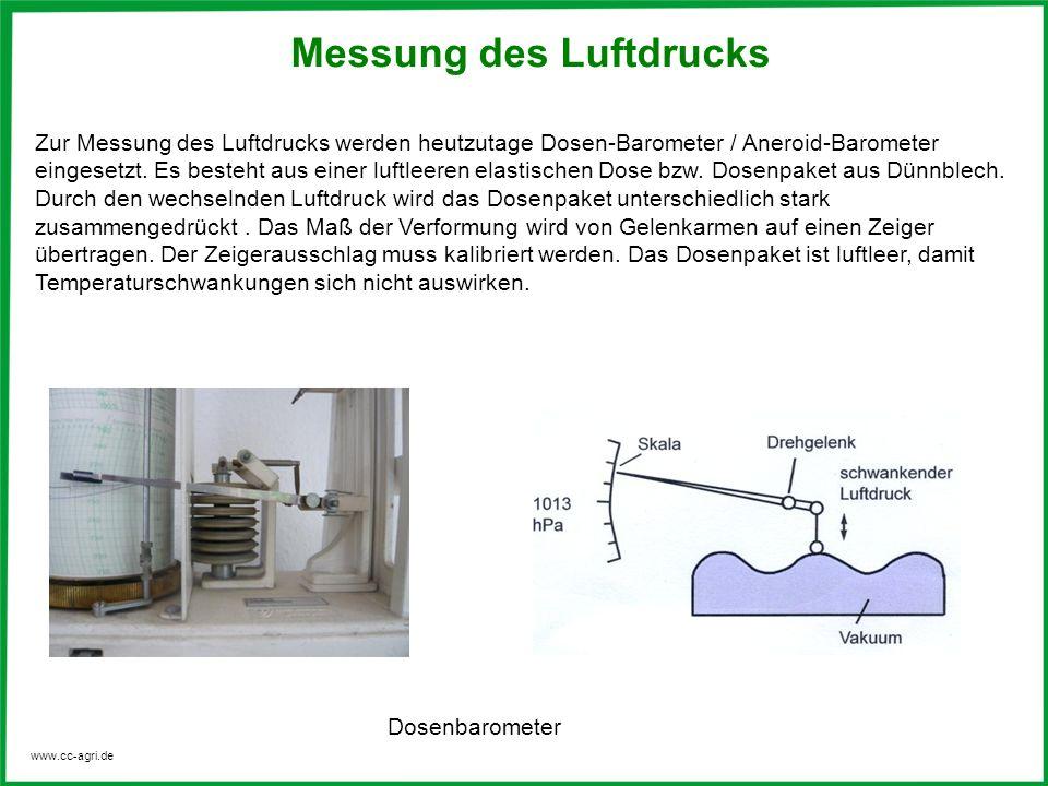 www.cc-agri.de Zur Messung des Luftdrucks werden heutzutage Dosen-Barometer / Aneroid-Barometer eingesetzt. Es besteht aus einer luftleeren elastische
