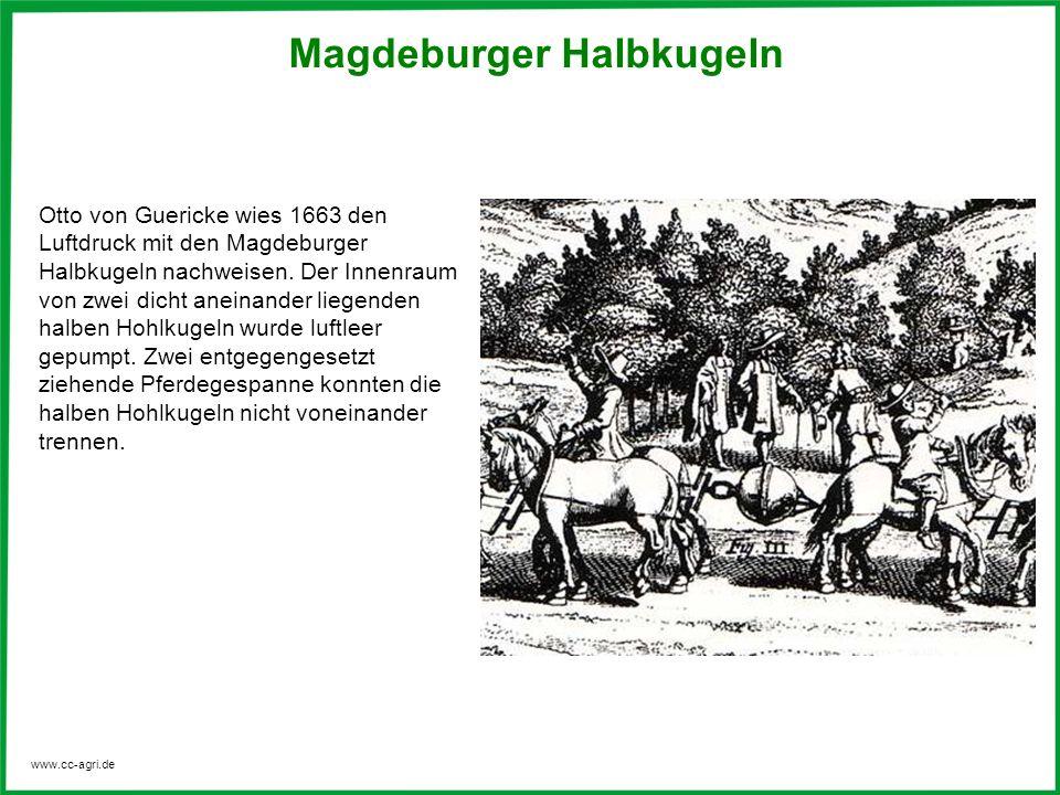 www.cc-agri.de Magdeburger Halbkugeln Otto von Guericke wies 1663 den Luftdruck mit den Magdeburger Halbkugeln nachweisen. Der Innenraum von zwei dich